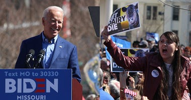 Joe Biden speaks to a crowd in St. Louis Missouri
