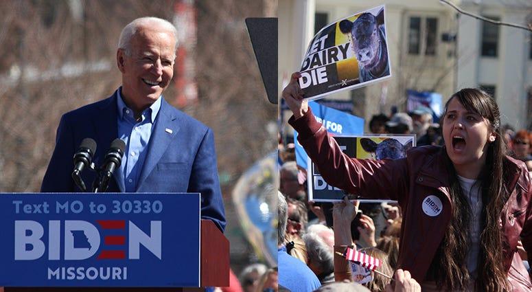 Joe Biden speaks to a crowd in St. Louis Missouri