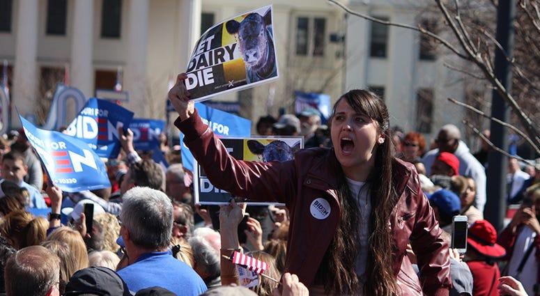 Let Dairy Die protesters at the Joe Biden rally in St. Louis Missouri