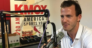 St. Louis Blues radio analyst Joey Vitale in the KMOX Sports studio.