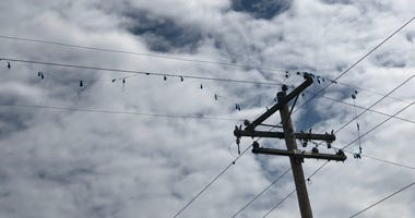 Mylar balloons stuck in power lines in Albers, Ill. on May 25, 2019