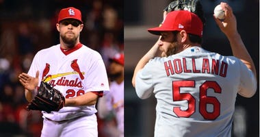 St. Louis Cardinals pitchers Bud Norris and Greg Holland.