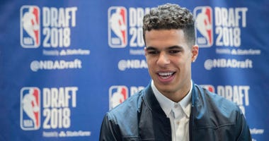 Missouri's Michael Porter Jr. speaks to reporters during a media availability with the top basketball prospects in the NBA Draft