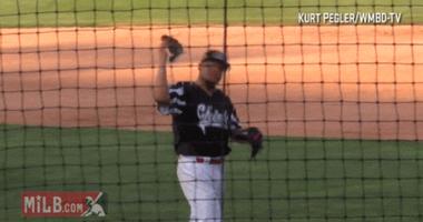 Peoria Chiefs pitcher catches a bird.