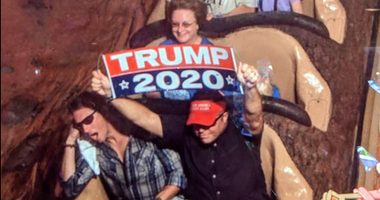 Man banned from Disney for Trump signs.