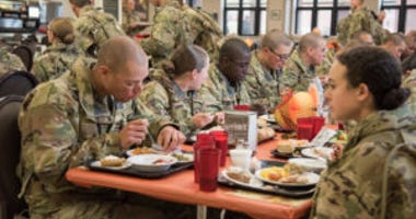Soldiers in training at Fort Leonard Wood enjoyed a traditional Thanksgiving Day meal on November 28m 2019.