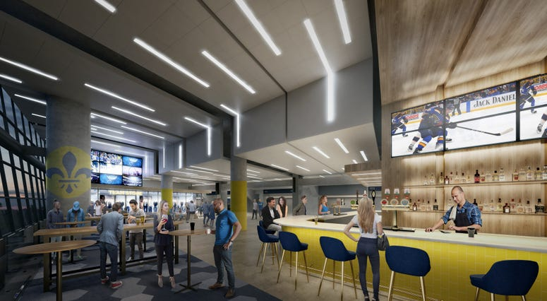 Rendering of planned sports bar and gathering space in Scottrade Center.