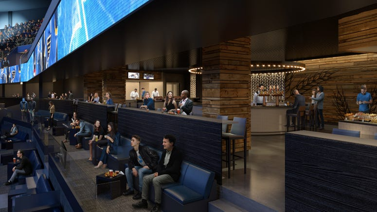 Rendering of planned The Ledge seating and tables at Scottrade Center.
