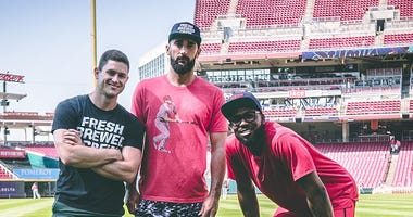 "Creator of the ""It's Gotta Be The Salsa"" slogan Tony Madalone with Matt Carpenter and Dexter Fowler."