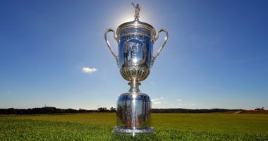 View of the U.S. Open trophy as it sits on the twelfth tee box during a course preview for the 2018 U.S. Open golf tournament at Shinnecock Hills.