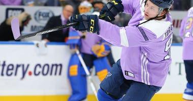 St. Louis Blues forward Vladimir Tarasenko during Hockey Fights Cancer night.