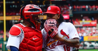 Pitcher Carlos Martinez with catcher Yadier Molina.