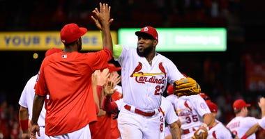 St. Louis Cardinals celebrate a victory at Busch Stadium.