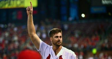 St. Louis Cardinals starting pitcher John Gant (53) receives a curtain call