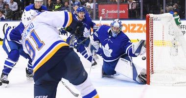Toronto Maple Leafs goaltender Frederik Andersen (31) makes a save against St. Louis Blues right wing Vladimir Tarasenko