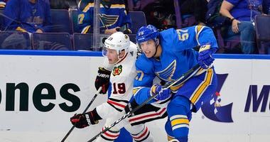 St. Louis Blues left wing David Perron (57) skates against Chicago Blackhawks