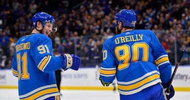 St. Louis Blues center Ryan O'Reilly (90) is congratulated by right wing Vladimir Tarasenko