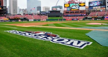 General view of Busch Stadium and the MLB Postseason logo