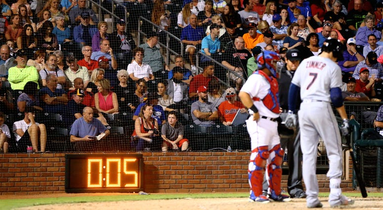 Detailed view of an electronic pitch/pace of play clock in use during the Arizona Fall League Fall Stars game