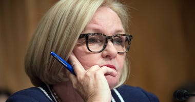 Jan 10, 2017; Washington, DC, USA; Senator Claire McCaskill, D-Missouri, questions John F. Kelly, nominee for Secretary of Homeland Security, during confirmation hearing before the Senate Homeland Security and Governmental Affairs Committee.