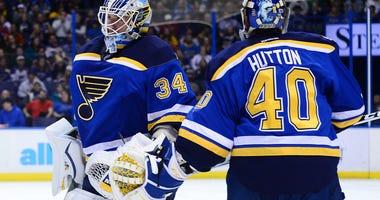 St. Louis Blues goalie Jake Allen (34) is replaced by goalie Carter Hutton