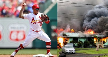 Cardinals second baseman Kolten Wong and an image of lava engulfing a home in the Leilani Estates neighborhood of Hawaii