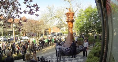 The new world-record largest chess piece is unveiled outside the World Chess Hall of Fame in St. Louis.