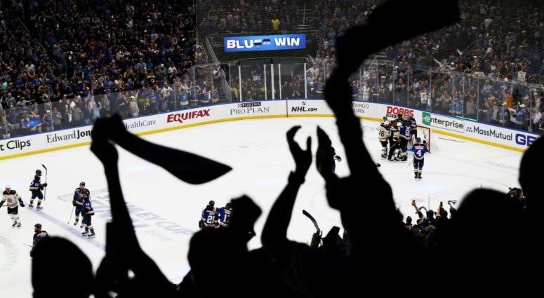 St. Louis Blues fans at Enterprise Center