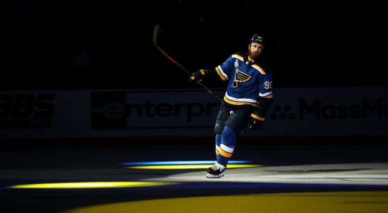 St. Louis Blues player on ice