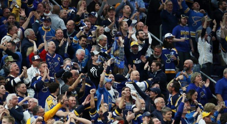 St. Louis Blues fans in Enterprise Center