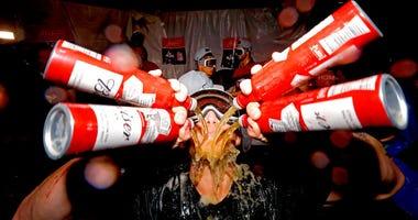 Cardinals celebrate clinching a playoff berth.
