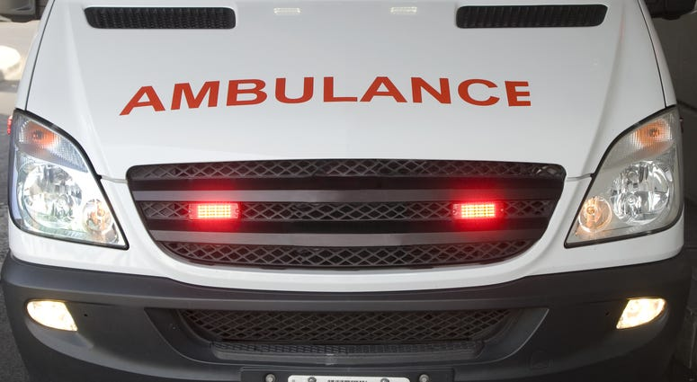 Front view of an ambulance