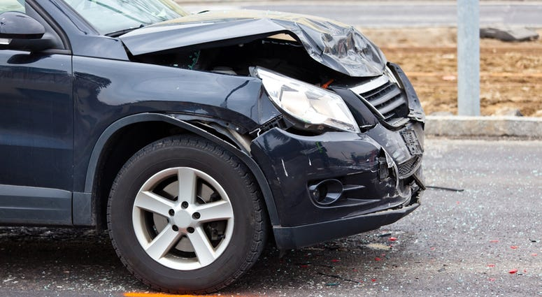 A body damage after a car accident. Damage for insurance