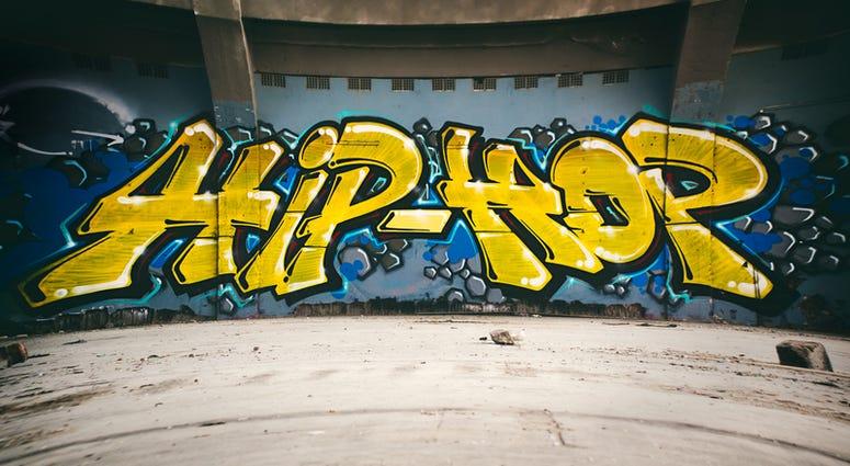 Graffiti wall with Hip Hop, urban art