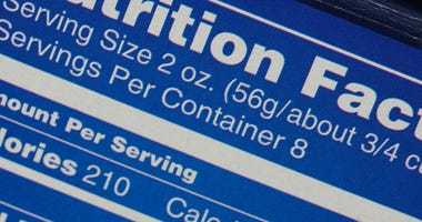 Photo of a nutrition label.