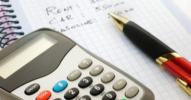 Close up shot of a calculator and pen with budget written on pad