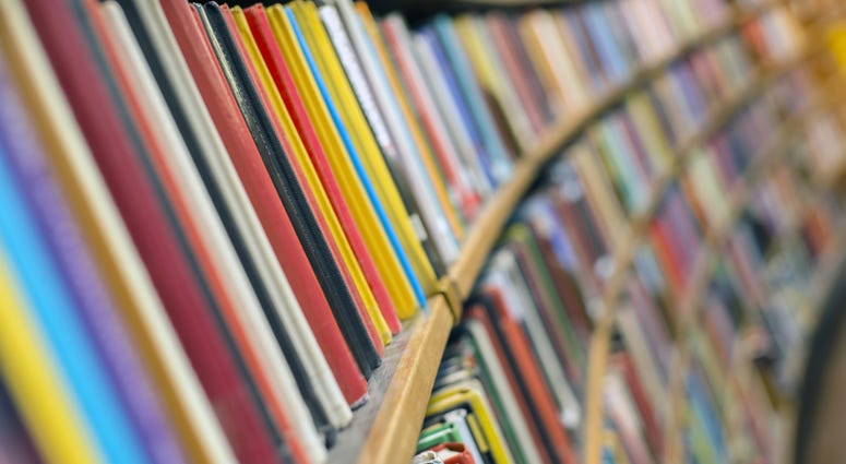 Photo of Library books, close up