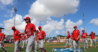 St. Louis Cardinals on the field before spring training game.