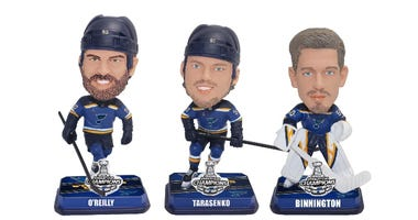 Set of 3 mini St. Louis Blues Bobbleheads