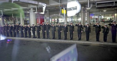 Midshipmen from the Naval Academy in Annapolis, Maryland