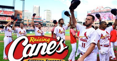 St. Louis Cardinals players at Busch Stadium.