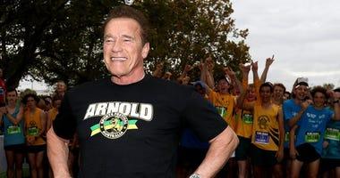 Arnold Schwarzenegger's Home Workout Is Interrupted by Pet Donkey Lulu