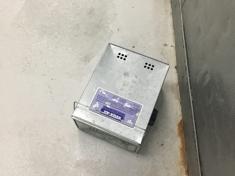 Shoebox-sized metal rodent trap at Workhouse