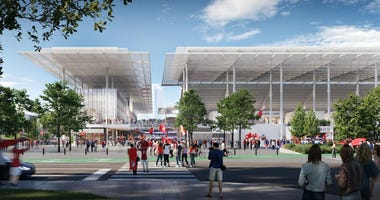 Rendering of the proposed Major League Soccer Stadium in St. Louis's Downtown West neighborhood