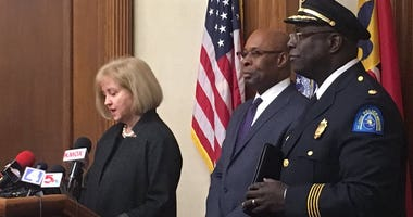 Mayor Lyda Krewson introducing St. Louis Police Chief, John Hayden
