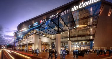 Rendering of planned renovations to exterior of Scottrade Center.