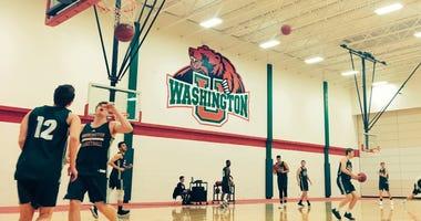 Basketball practice for the WashU Bears