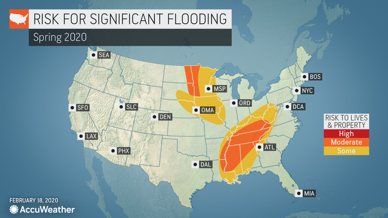 Long-range Spring forecast from AccuWeather - Flood risk