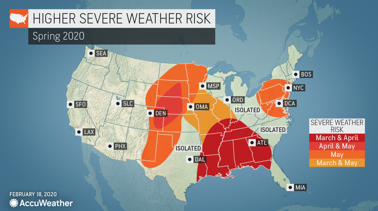 Long-range forecast from AccuWeather - Severe weather risk