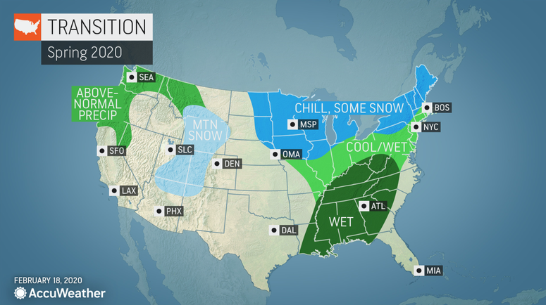Long-range Spring forecast from AccuWeather - Temperatures